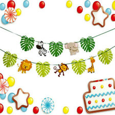 Cartoon Forest Animal Banner Happy Birthday Party Decoration Cute Flag Bunting