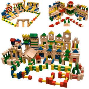 500 Stück Holzbausteine Buchenholz Bauklötze Holzklötze Holzspielzeug bunt NEU