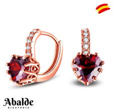 Pendientes Mujer Con Piedras Corazón Rojo Color Oro Diseño Exclusivo RegaloIdeal