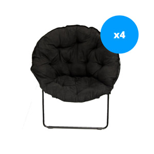 Easy Living Black Round Padded Dish Chair 4 Pack!