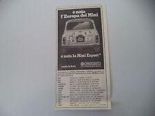 advertising Pubblicità 1973 INNOCENTI MINI EXPORT
