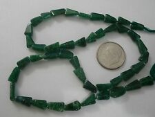 "Dark green Aventurine handcut triangle semiprecious stone beads 15"" strand BS307"