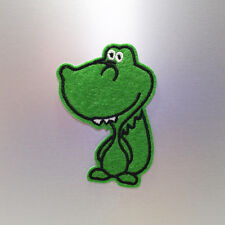 Cute Green Dinosaur Patch — Iron On Badge Embroidered Motif — Dino Crocodile