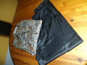 Schlafanzug Damen Gr. 44/46 leoprint Oberteil, Hose schwarz langarm