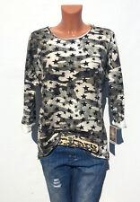 ITALY Damen Tunika Shirt Oversize 38 40 Bluse Pullover  Sterne Camuflage Blogger