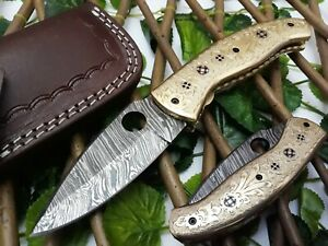 SMITH KRAFT CUSTOM HANDMADE DAMASCUS SHARP EDGE LINEAR LOCK FOLDING KNIFE BRASS
