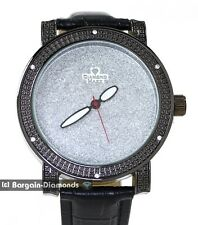 mens big black clubbing white CZ watch silver bling dial leather strap maxx