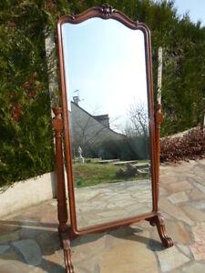 Psyché Miroir sur pied ancien en bois objet de collection pour décoration