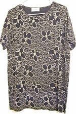 FRAZIER LAWBENCE 12 PULLOVER STRETCH TOP BLACK & BEIGE FLORAL DESIGN NEW