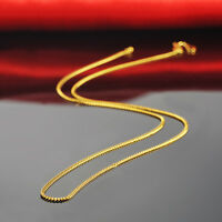 "Real 24k Yellow Gold Necklace Women & Gents Lucky Curb Link Chain 16.5""L 1.2mm"