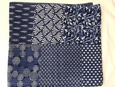Ethnic Queen Size Blue Handmade Floral Print Kantha Quilt Cotton Hippie Blanket