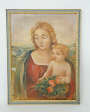 Dipinto olio su tela madonna con bambino