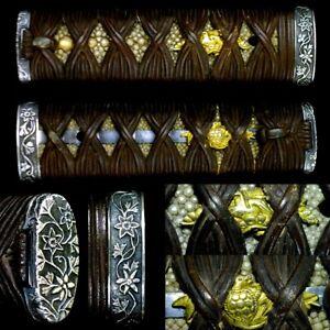 595 Japanese Samurai Edo Antique  Excellent fittings wakizashi sword tsuka.