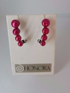Honora Cultured Red Pearl Graduated Sterling Silver Ear Climber Earrings