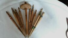 Primitive Very Old Wool Spindles For Hand Spinning Yarn Carved Lot 9ps