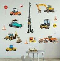 Construction Vehicle Wall Decal Nursery Decor Boys Room Sticker Art Mural Gift