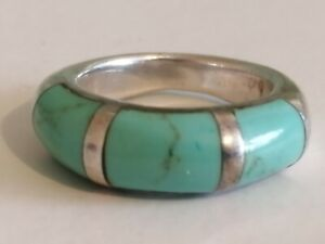 925 Silver Turquoise Ring Size L 1/2, 7.9 g.