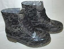 Henry Ferrera Clear Black Lace Combat Rubber Rain Boots Womens Size 10 Rainboots