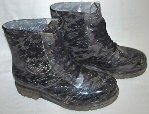 Henry Ferrera Clear Black Lace Combat Rubber Rain Boots Womens Size 9 Rainboots