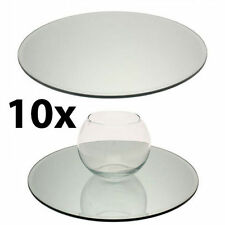 10 x Large 20cm GLASS ROUND MIRROR PLATES Wedding Birthday Ceremony Table