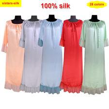 Womens  19 Momme 100% Mulberry Silk Long Gown Night Dress Sleepwear Bath Robe