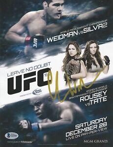 CHRIS WEIDMAN SIGNED AUTO'D MINI POSTER BAS COA UFC 168 CHAMP VS ANDERSON SILVA