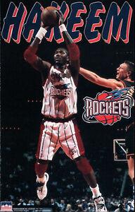 ORIGINAL 1997 STARLINE HAKEEM OLAJUWON NBA HOUSTON ROCKETS POSTER NEW 22x34