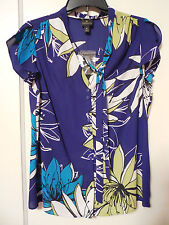 NWT Women's WORTHINGTON Royal Blue Floral Blouse Size Small - MSRP $36