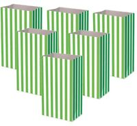 Green Pick and Mix Bags Birthday Party Candy Stripe Large Thick Paper Sweet Bag