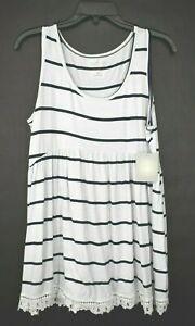 A:Glow Maternity Womens White Scoop Neck Sleeveless Striped Lace Mini Dress M