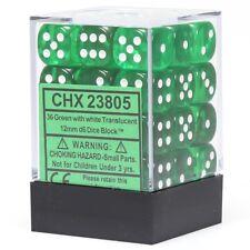 CHESSEX TRANSLUCENT 12mm 36 D6 GREEN & WHITE DICE WoW WARHAMMER MTG POKEMON