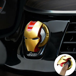 Car Interior Iron Man Engine Button  Cover Start Stop Button Switch Protective