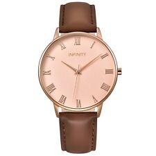 Infinity NB 05 Rosegold & Brown Women Minimalist Watch -Lether Strap Women watch