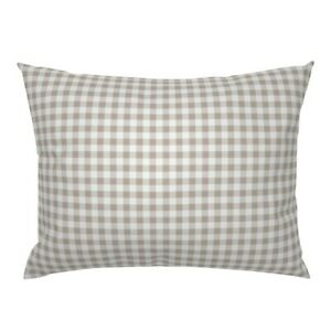 Beige Gingham Tan White Neutral Check Plaid Belgium Pillow Sham by Roostery