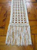 White crochet table runner Long White Doily Vintage Hadmade dresser Scarf 33in