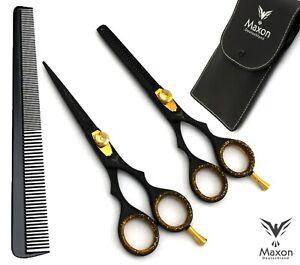 MAXON 3er Set Haarschere Effilierschere Friseurschere, Kamm & Etui ca16cm Schere