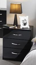 ULTRA GLOSS BLACK CHEST DRAW STYLISH CHROME HANDLES ASSEMBLED BEDROOM FURNITURE