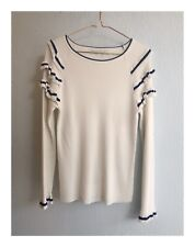 Womens Designer English Factory White Long Sleeve Top Size Small 8-10 AUS