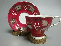 rare pinky RED Paragon double warrant silver flower white HP G0408  cup  saucer