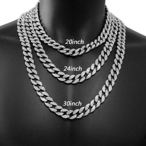 Hip Hop Mens Necklace Boys Rapper Choker Iced Cuban Chain Out Of Doors Jewelry