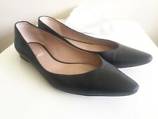 CHLOE Black Leather Ballet Flats Shoes Pumps Sz 40.5 UK 7.5 Point Toe Italy