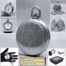 Silver Antique Style Classic Men Quartz Pocket Watch with Fob Chain Gift Box P85