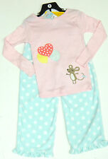 CARTER'S FILLE 2 Pce Pyjamas Set Rose Embelli Haut, Bleu Polaire Pantalon Taille 6 ans