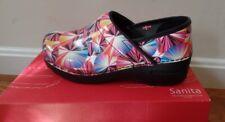 Sanita - Pink Professional Geo Leather clog - size 37