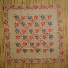 Vintage Linen Hankie - White/Blue/Pink/Green Rose Floral Print - Flawless!