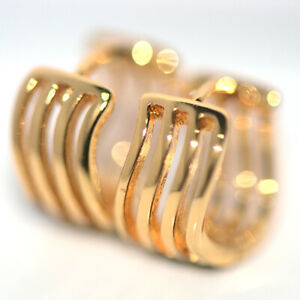 Small Womens Wave Hoop Huggie Earrings Gold Earings Jewelry Vintage Filigree