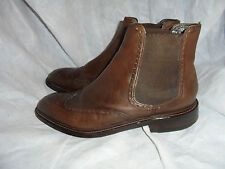 M & S SARTORIAL MEN'S BROWN LEATHER PULL ON ANKLE BOOT SIZE UK 8 EU 42  VGC