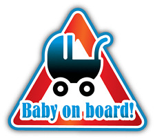 "Baby On Board Pram Cartoon Warning Sign Car Bumper Sticker Decal 5"" x 5"""