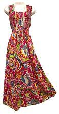 Pink Cotton Long Boho Maxi Dress Sleeveless Party Evening Size 14 16 18 20 22 24