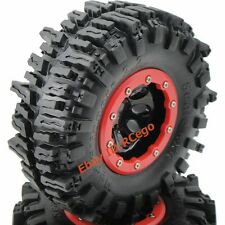 2pcs RC 2.2 Beadlock Wheels Rims & 2.2 Mud Slingers Tires 124mm For RC Crawler